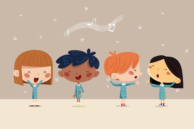 Glückliche kinder singen in einem chor illustriert Premium Vektoren