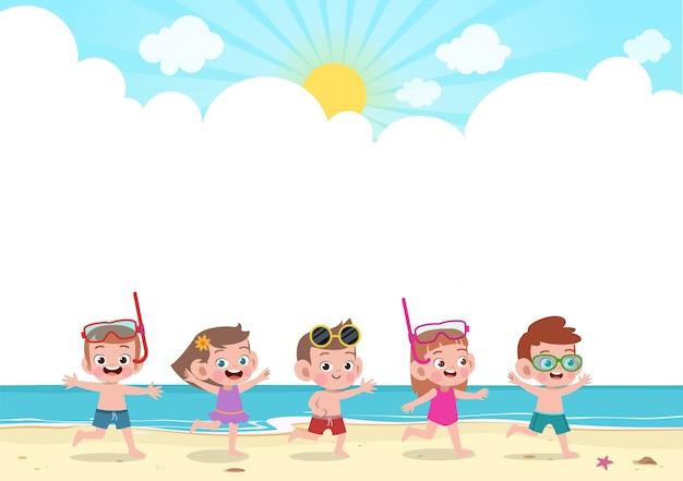 Glückliche kinder spielen am strand Premium Vektoren