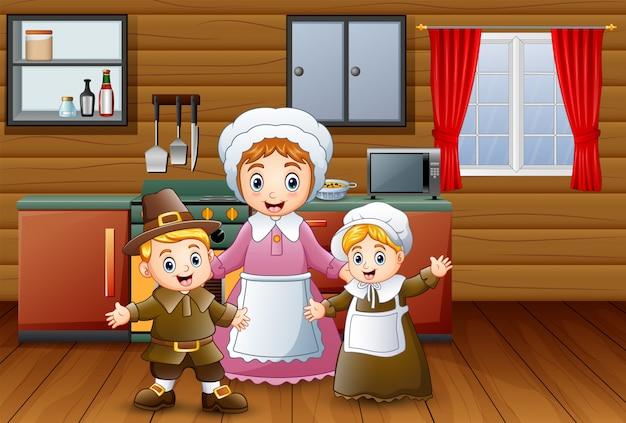 Glückliche kinder und mutter in der küche Premium Vektoren