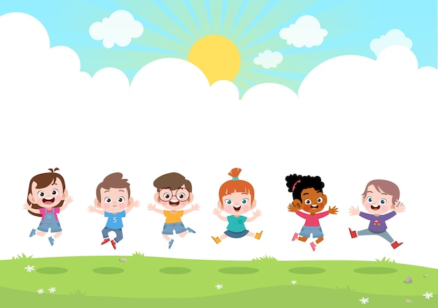 Glückliche kinder zusammen vektorabbildung Premium Vektoren