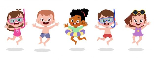 Glückliche kinderstrandurlaub-vektorillustration lokalisiert Premium Vektoren