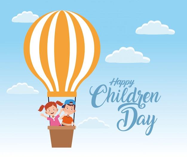Glückliche kindertagesfeier mit dem kinderfliegen Premium Vektoren
