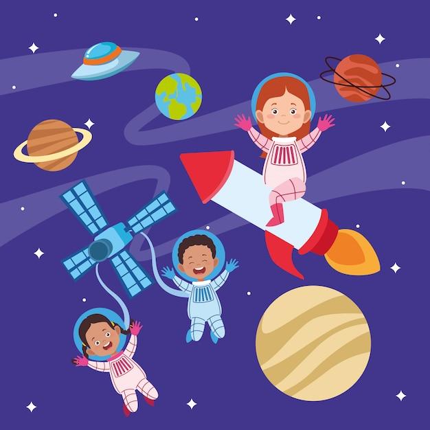 Glückliche kindertagesgrußkarte mit kindern im raum Premium Vektoren