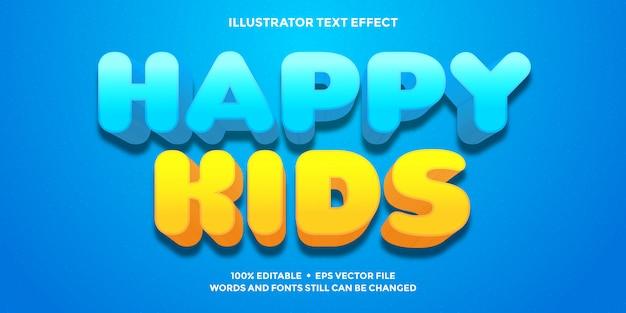 Glückliche kindertext-effekt blaue und orange farbe Premium Vektoren
