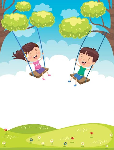 Glückliche kleine kinder, die am baum schwingen Premium Vektoren
