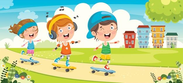 Glückliche kleine kinder, die draußen skateboard fahren Premium Vektoren