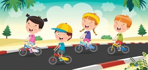 Glückliche kleine kinder, die fahrrad auf die straße fahren Premium Vektoren