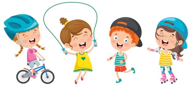 Glückliche kleine kinder, die sport tun Premium Vektoren