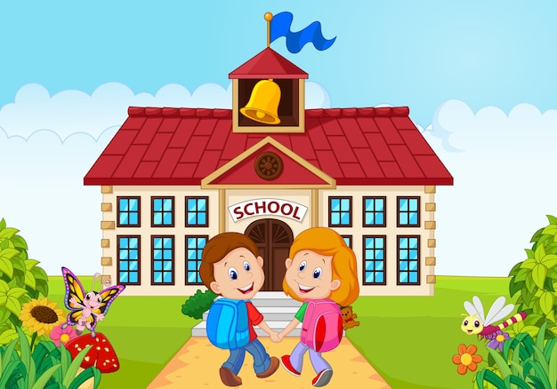 Glückliche kleine kinder, die zur schule gehen Premium Vektoren