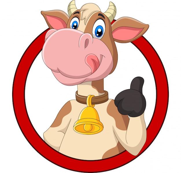 Glückliche kuh der karikatur, die daumen aufgibt Premium Vektoren