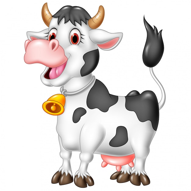 Glückliche kuh der karikatur lokalisiert auf weißem hintergrund Premium Vektoren