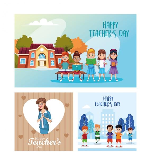 Glückliche lehrertageskarte mit schülern und lehrerszene Premium Vektoren