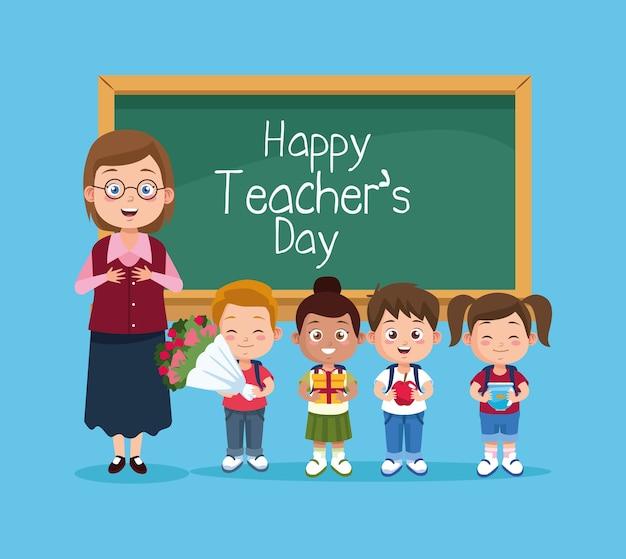 Glückliche lehrertageszene mit lehrer und kindern. Premium Vektoren