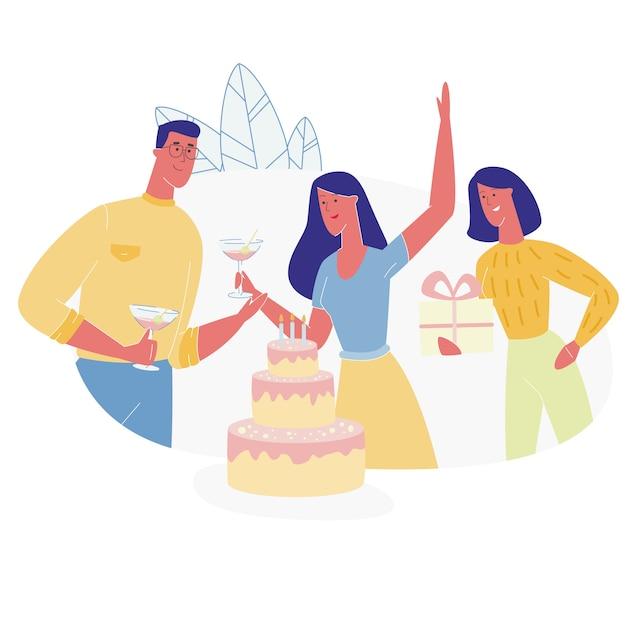 Glückliche leute-charaktere, die geburtstag feiern Premium Vektoren