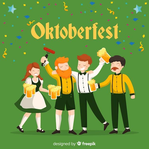 Glückliche leute, die oktoberfest mit flachem design feiern Kostenlosen Vektoren