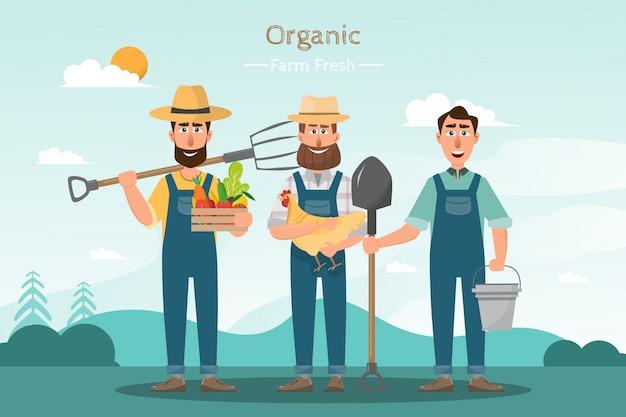 Glückliche mannlandwirtzeichentrickfilm-figur im organischen ländlichen bauernhof Premium Vektoren