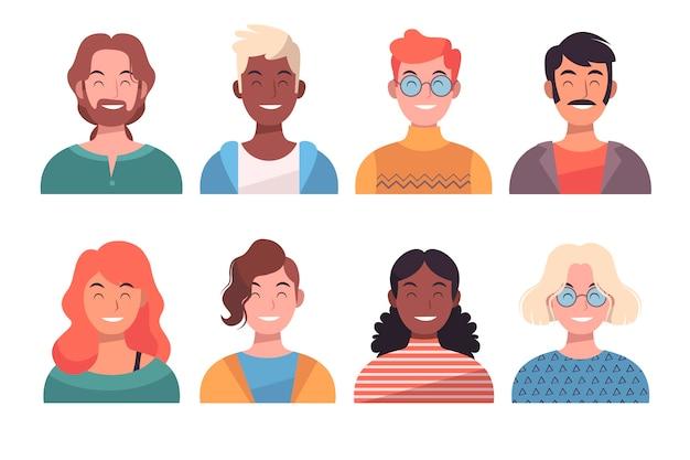 Glückliche menschen avatare Kostenlosen Vektoren