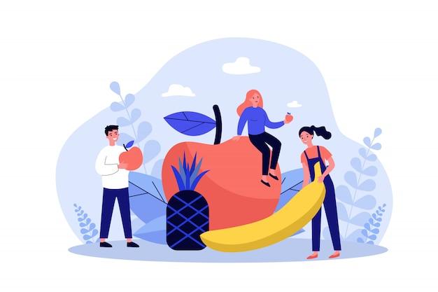 Glückliche menschen, die gesunde ernährung halten Premium Vektoren