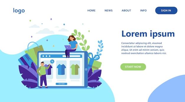 Glückliche menschen, die kleidung online kaufen Kostenlosen Vektoren