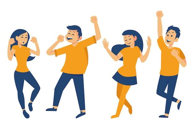 Glückliche menschen tanzen gesetzt Premium Vektoren
