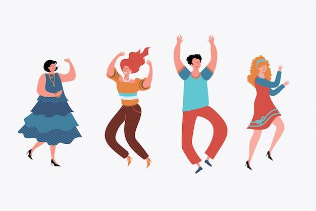 Glückliche menschen tanzen gesetzt. Kostenlosen Vektoren