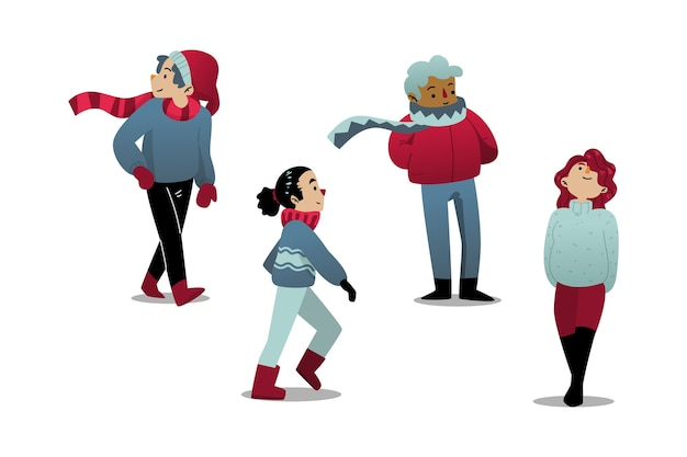 Glückliche menschen tragen winterkleidung Kostenlosen Vektoren