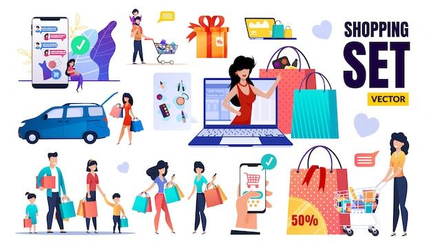 Glückliche menschen, verkauf, rabatt, einkaufsset Premium Vektoren