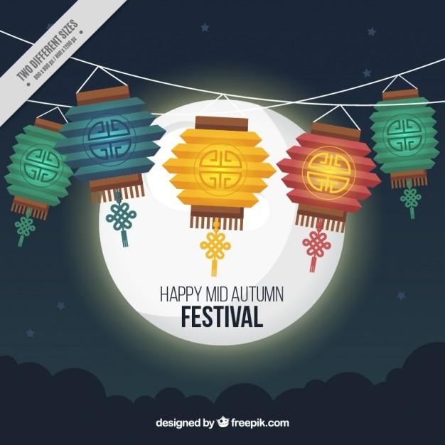 Glückliche mid-autumn festival mit laternen und mond Kostenlosen Vektoren