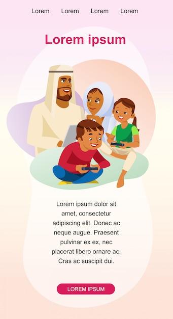 Glückliche moslemische familien-freizeit-vektor-web-fahne Premium Vektoren