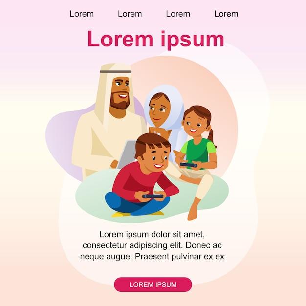 Glückliche moslemische familien-vektor-landungs-seiten-schablone Premium Vektoren