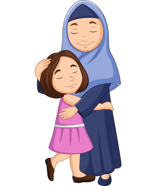 Glückliche moslemische mutter, die ihre tochter umarmt Premium Vektoren