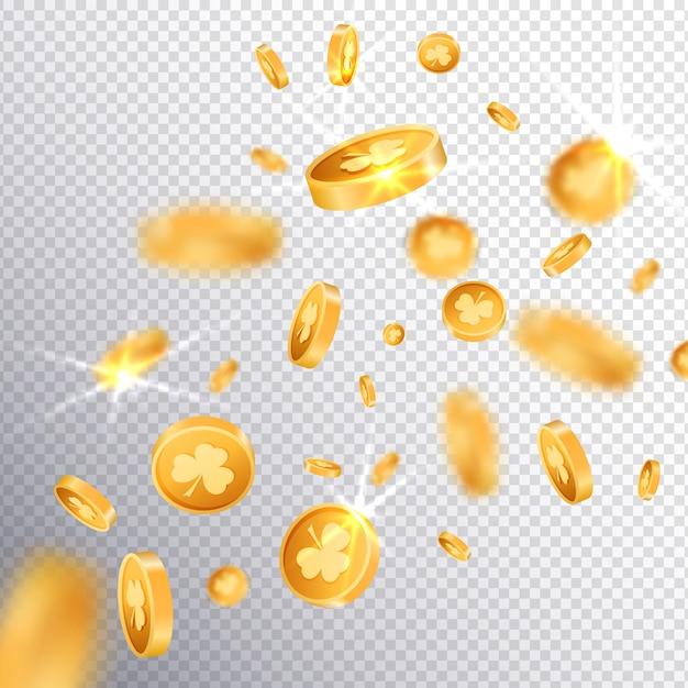 Glückliche münzen des gold 3d Premium Vektoren