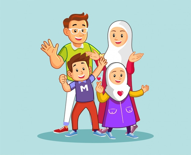 Glückliche muslimische familie Premium Vektoren