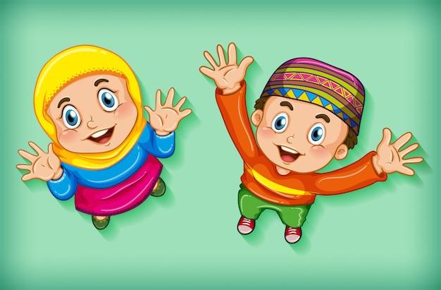 Glückliche muslimische kinder aus der luft Kostenlosen Vektoren