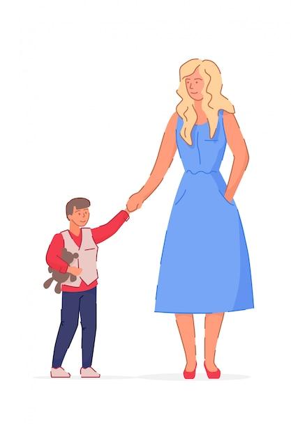 Mutter Sohn Bewegung Comic
