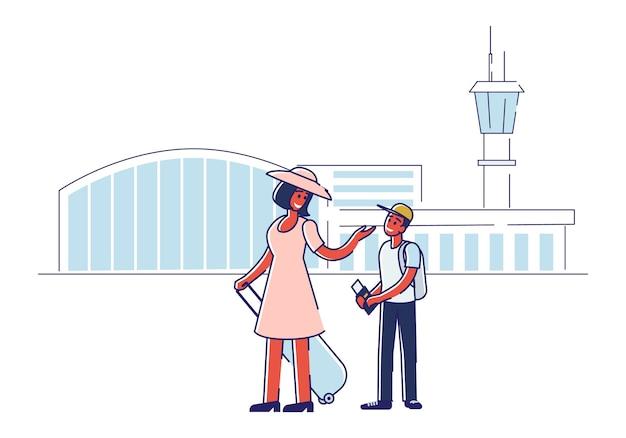 Glückliche mutter und sohn vor dem einsteigen in das flugzeug mit pässen, tickets und gepäck über dem flughafen Premium Vektoren