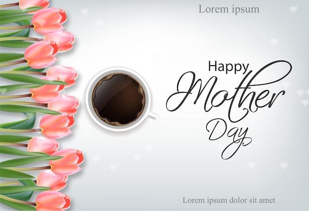 Glückliche muttertagesbecher kaffee- und tulpenblumen Premium Vektoren