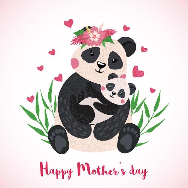 Glückliche muttertagesgrußkarte mit nettem panda mit gezeichneter art des babys in der hand. Premium Vektoren