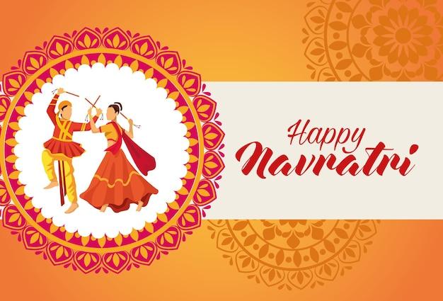 Glückliche navratri-feier mit tänzern im mandala-vektorillustrationsdesign Premium Vektoren