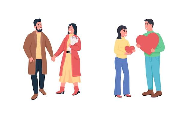 Glückliche paare in liebe flache farbe detaillierten zeichensatz. dating und flirten. Premium Vektoren