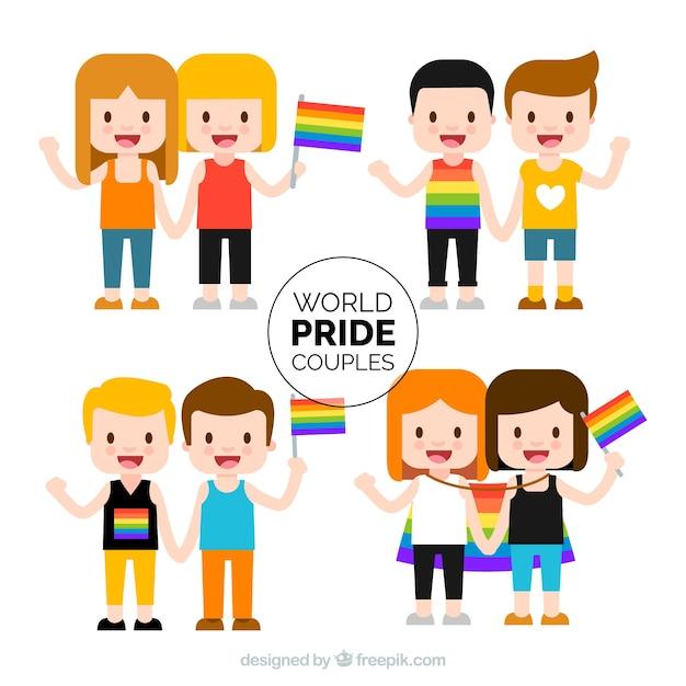 Glückliche paare mit schwulen stolzfahnen Kostenlosen Vektoren