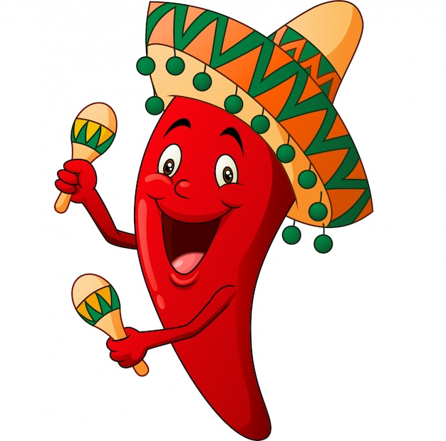 Glückliche paprikakarikatur, die maracas spielt Premium Vektoren
