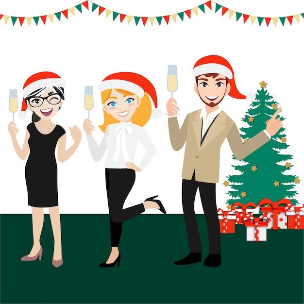 Glückliche parteigruppe geschäftsleute mit zeichentrickfilm-figur, frohen weihnachten und guten rutsch ins neue jahr Premium Vektoren