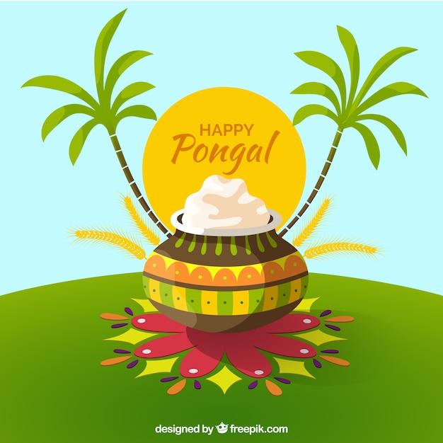 Glückliche pongal-illustration mit palmen Kostenlosen Vektoren