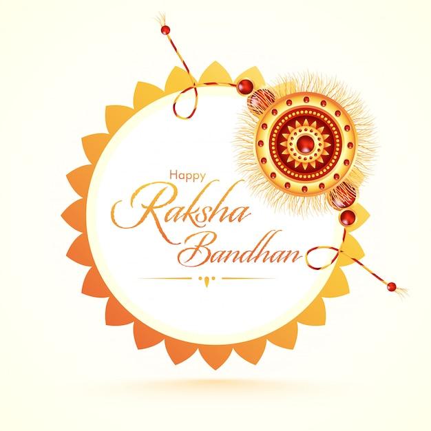 Glückliche raksha bandhan schriftart mit schönem rakhi (armband) auf weißem hintergrund. Premium Vektoren