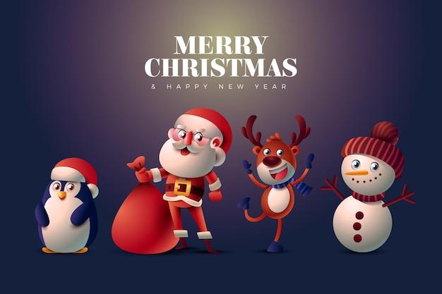 Glückliche realistische zeichentrickfiguren weihnachten Kostenlosen Vektoren
