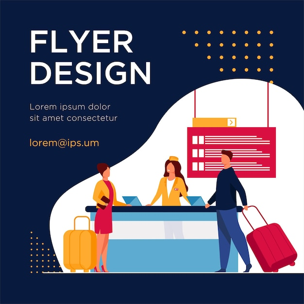 Glückliche reisende, die durch flugregistrierungsschalter gehen. reise, gepäck, gepäck flach flyer vorlage Kostenlosen Vektoren