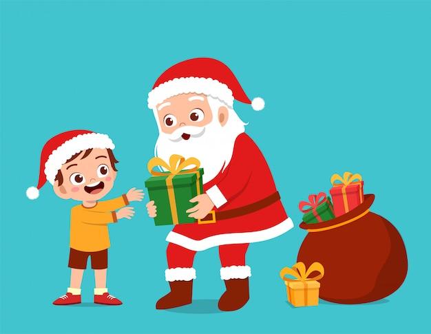 Glückliche sankt geben den kindern geschenk Premium Vektoren