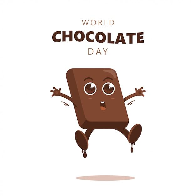 Glückliche schokolade tag spaß cartoon Premium Vektoren
