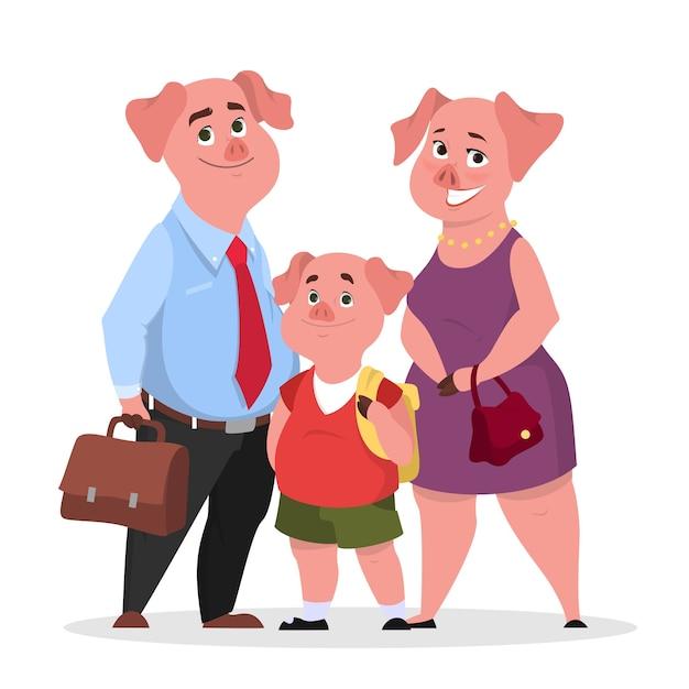 Glückliche schweinefamilie in kleidern. mutter, vater und kind Premium Vektoren